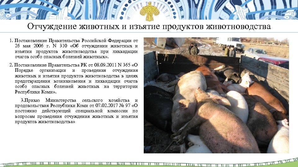 Отчуждение животных и изъятие продуктов животноводства 1. Постановление Правительства Российской Федерации от 26 мая