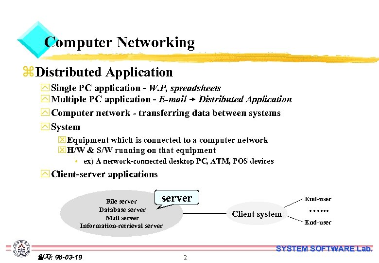 Computer Networking z Distributed Application y Single PC application - W. P, spreadsheets y