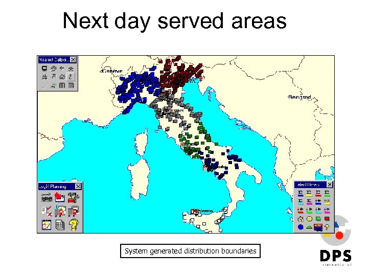 Next day served areas System generated distribution boundaries