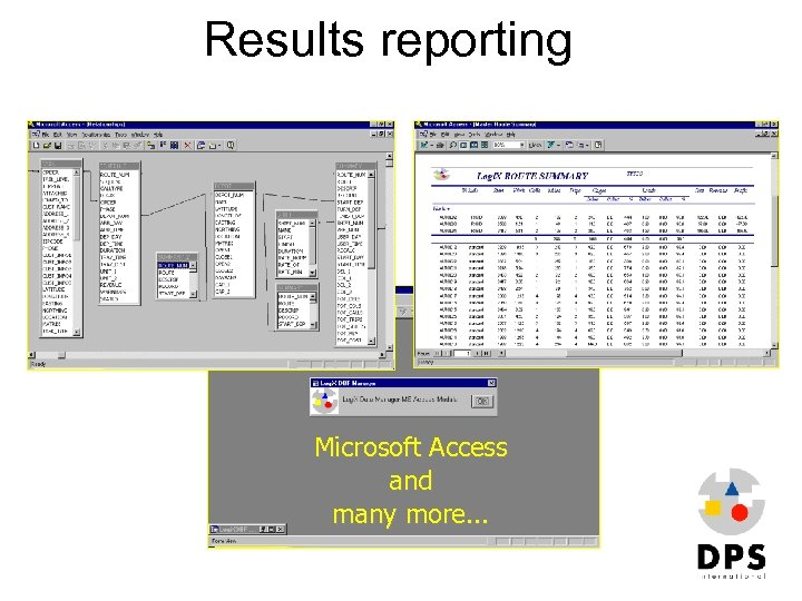 Results reporting Microsoft Access and many more. . .