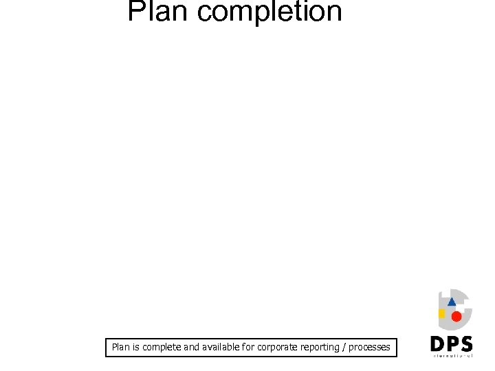 Plan completion Plan is complete and available for corporate reporting / processes