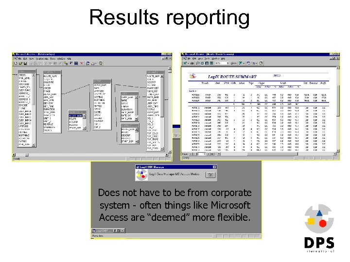 Results reporting Does not have to be from corporate system - often things like