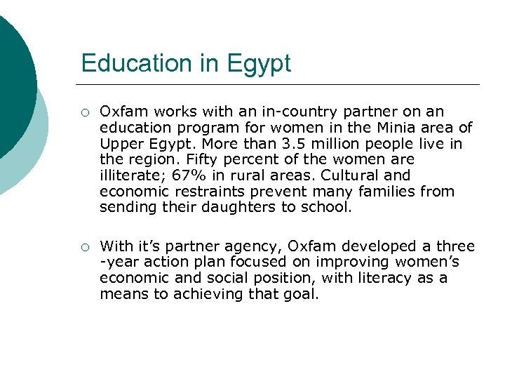 Education in Egypt ¡ Oxfam works with an in-country partner on an education program