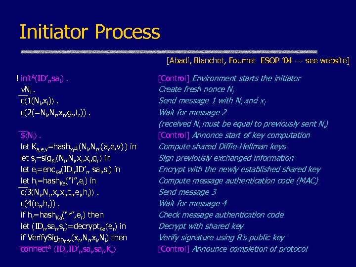 Initiator Process [Abadi, Blanchet, Fournet ESOP ' 04 --- see website] ! init. A(ID'r,