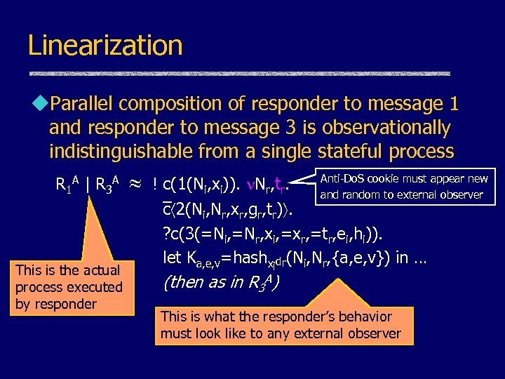 Linearization u. Parallel composition of responder to message 1 and responder to message 3