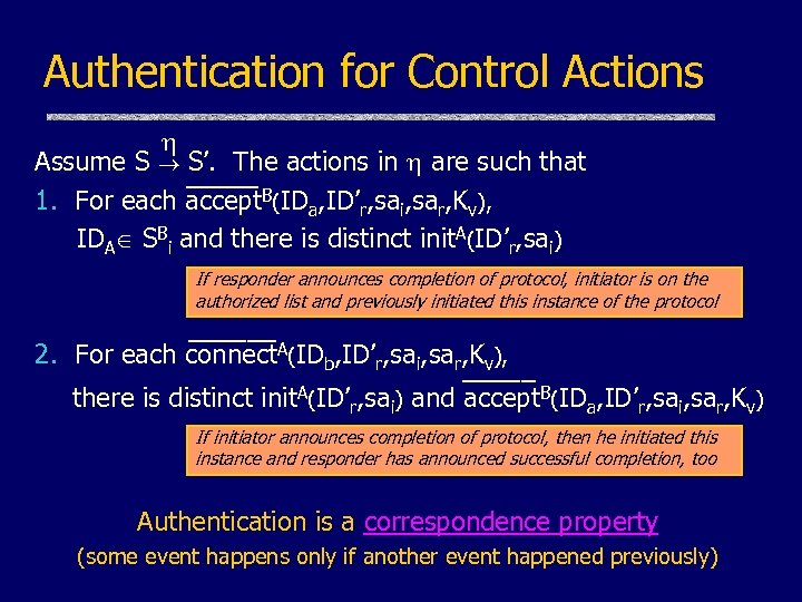 Authentication for Control Actions Assume S S'. The actions in are such that _____