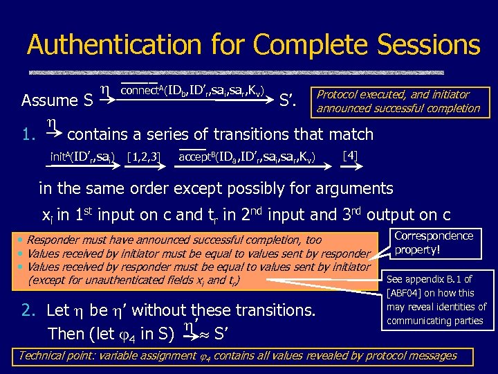 Authentication for Complete Sessions ____ connect. A(IDb, ID'r, sai, sar, Kv) initiator Assume S