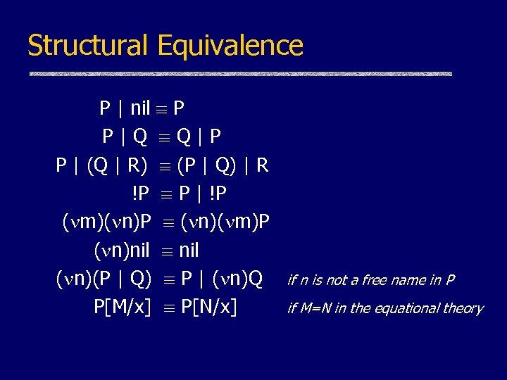 Structural Equivalence P | nil P P|Q Q|P P | (Q | R) (P