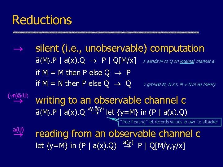 Reductions silent (i. e. , unobservable) computation ā M. P | a(x). Q P