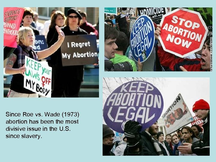 Since Roe vs. Wade (1973) abortion has been the most divisive issue in the