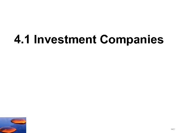 4. 1 Investment Companies 4 -2