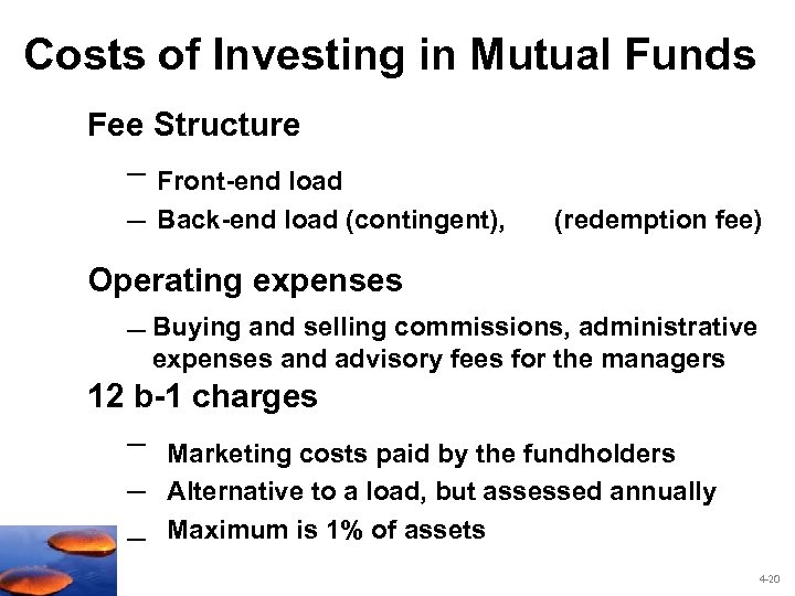 Costs of Investing in Mutual Funds Fee Structure – Front-end load – Back-end load