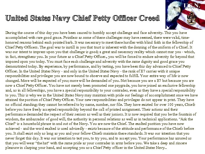 United States Navy Chief Petty Officer Creed During the course of this day you