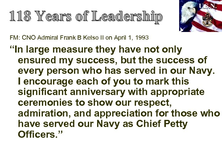 118 Years of Leadership FM: CNO Admiral Frank B Kelso II on April 1,