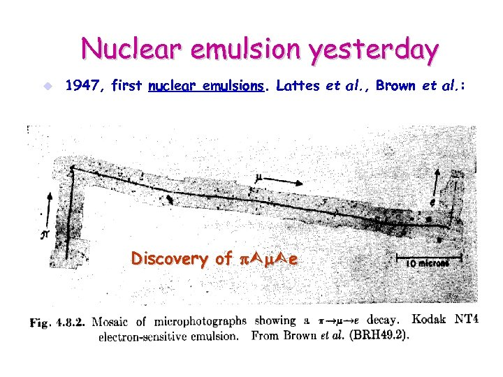 Nuclear emulsion yesterday u 1947, first nuclear emulsions. Lattes et al. , Brown et