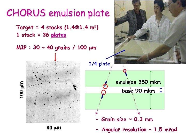 CHORUS emulsion plate Target = 4 stacks (1. 4 m 2) 1 stack =