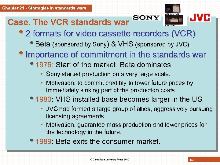 Chapter 21 - Strategies in standards wars Case. The VCR standards war • 2
