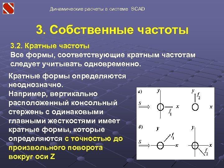 Динамические расчеты в системе SCAD 3. Собственные частоты 3. 2. Кратные частоты Все формы,