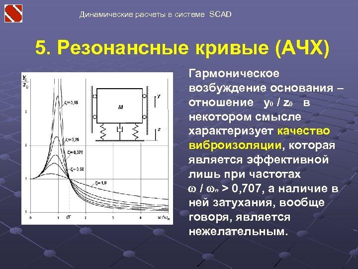 Динамические расчеты в системе SCAD 5. Резонансные кривые (АЧХ) Гармоническое возбуждение основания – отношение