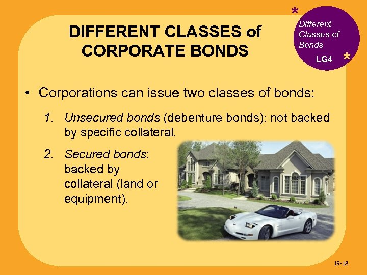 DIFFERENT CLASSES of CORPORATE BONDS *Different Classes of Bonds LG 4 * • Corporations