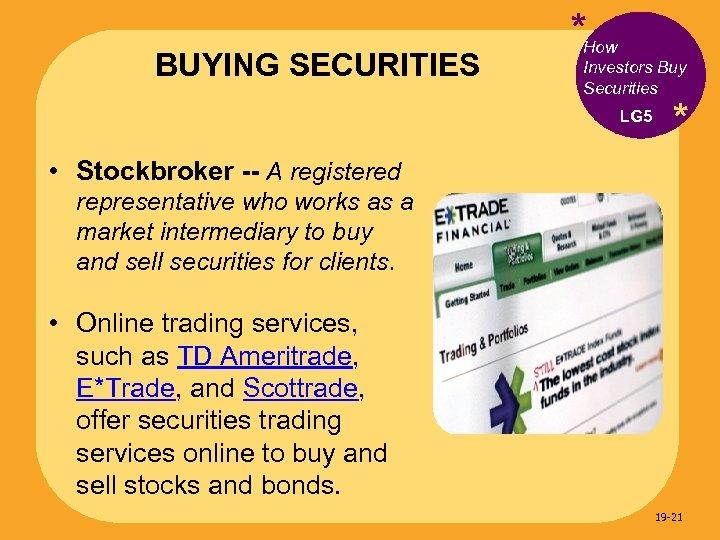 BUYING SECURITIES *How Investors Buy Securities LG 5 * • Stockbroker -- A registered