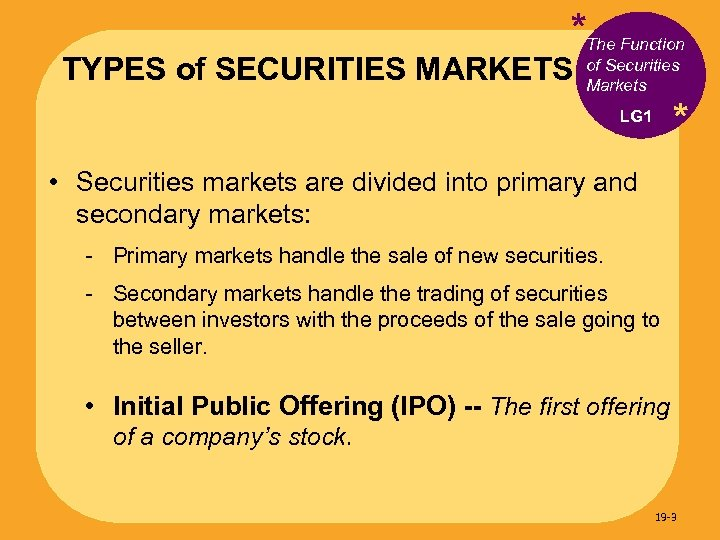 *The Function TYPES of SECURITIES MARKETS of Securities Markets * LG 1 • Securities