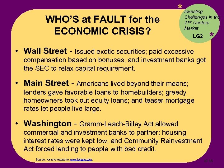 WHO'S at FAULT for the ECONOMIC CRISIS? * Investing Challenges in the 21 st