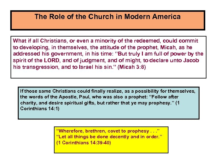 The Role of the Church in Modern America What if all Christians, or even
