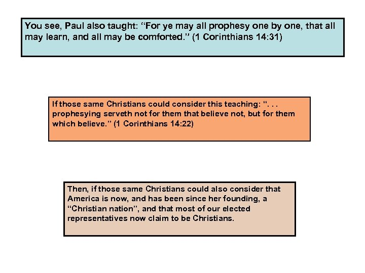 """You see, Paul also taught: """"For ye may all prophesy one by one, that"""