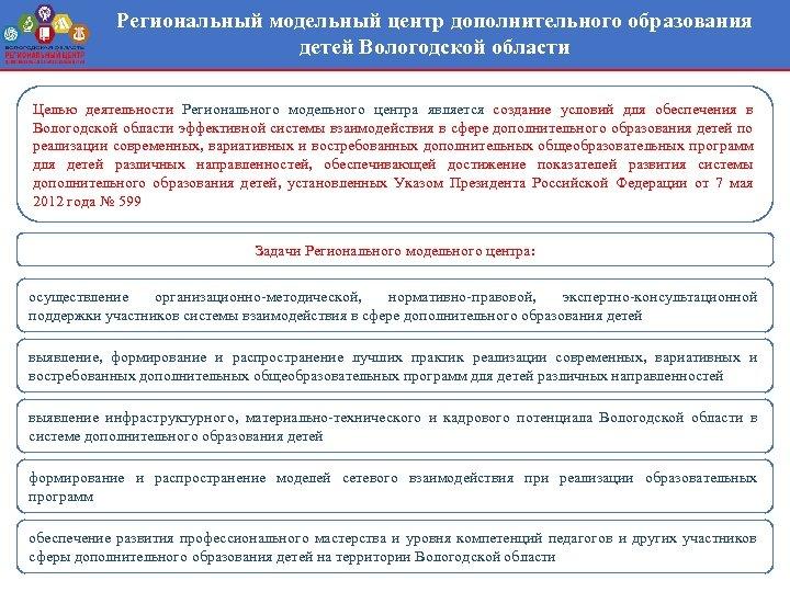 Региональный модельный центр дополнительного образования детей Вологодской области Целью деятельности Регионального модельного центра является