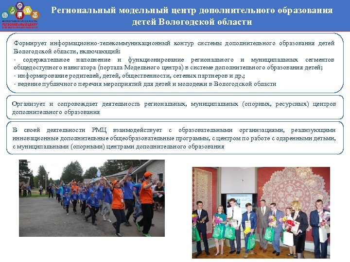 Региональный модельный центр дополнительного образования детей Вологодской области Формирует информационно-телекоммуникационный контур системы дополнительного образования