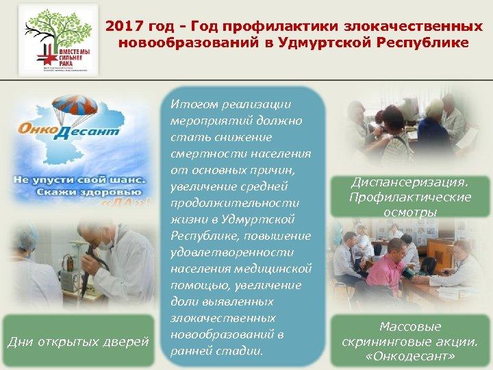 2017 год - Год профилактики злокачественных новообразований в Удмуртской Республике Дни открытых дверей Итогом