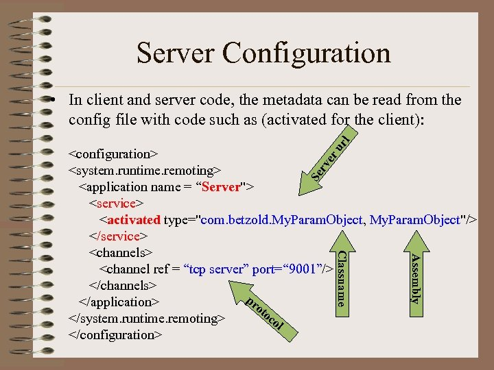 Server Configuration ur l • In client and server code, the metadata can be