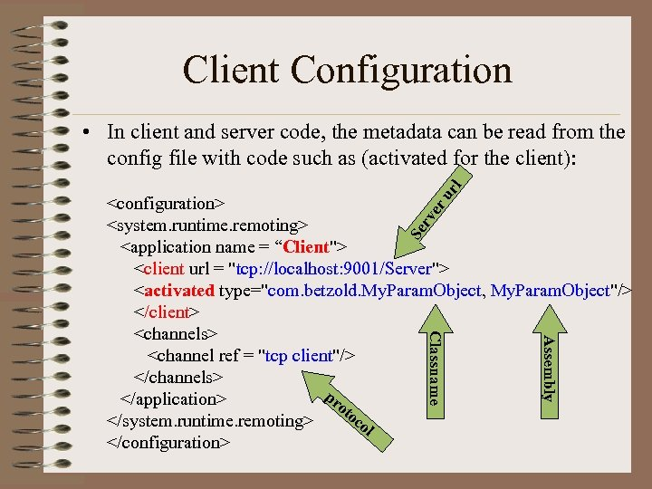Client Configuration ur l • In client and server code, the metadata can be