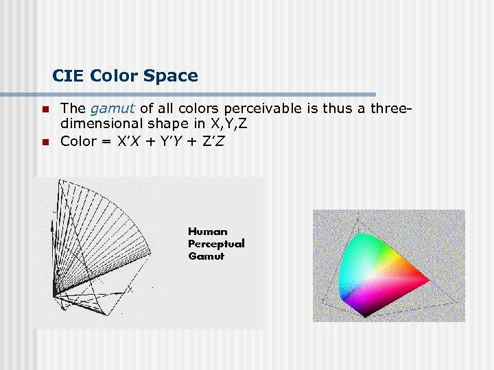CIE Color Space n n The gamut of all colors perceivable is thus a