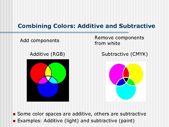 Combining Colors: Additive and Subtractive Add components Additive (RGB) n n Remove components from