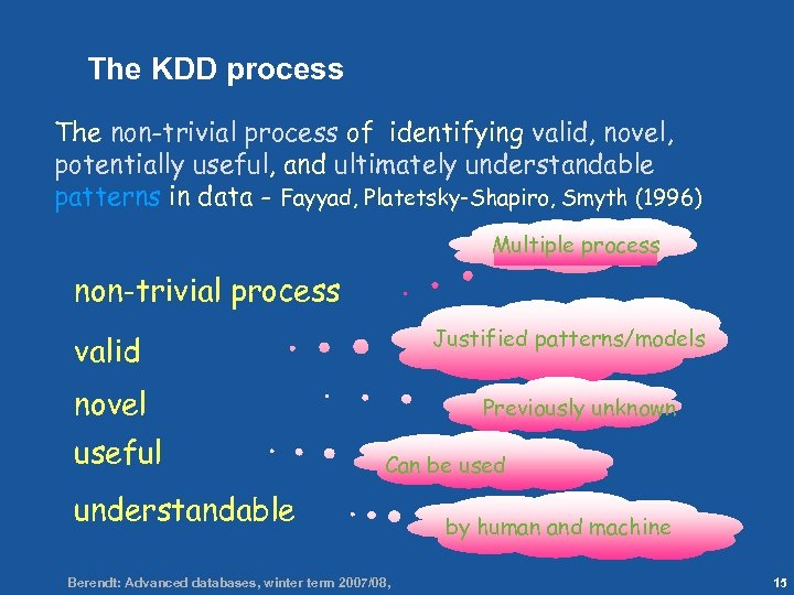 15 The KDD process The non-trivial process of identifying valid, novel, potentially useful, and