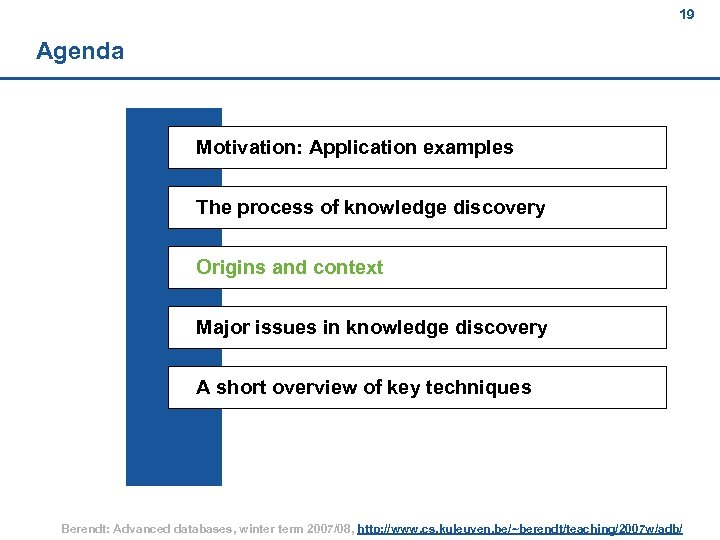 19 Agenda Motivation: Application examples The process of knowledge discovery Origins and context Major
