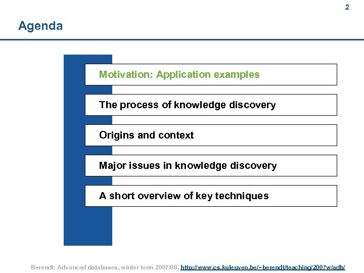2 Agenda Motivation: Application examples The process of knowledge discovery Origins and context Major