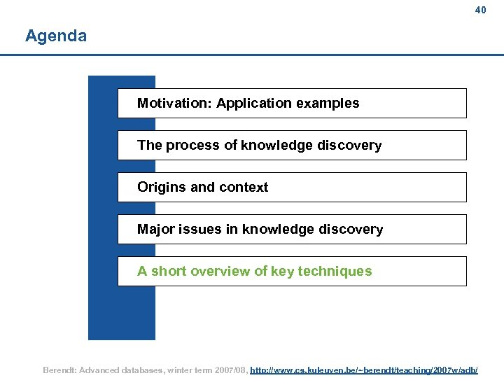 40 Agenda Motivation: Application examples The process of knowledge discovery Origins and context Major