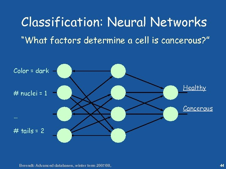 "44 Classification: Neural Networks ""What factors determine a cell is cancerous? "" Color ="