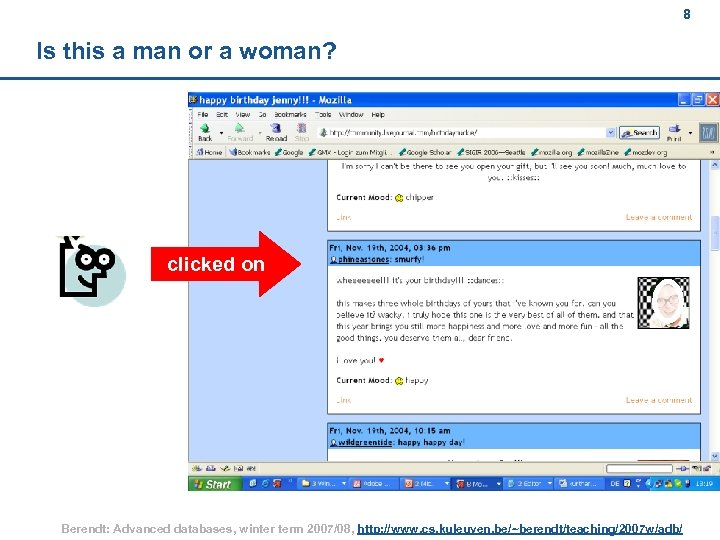 8 Is this a man or a woman? clicked on Berendt: Advanced databases, winter