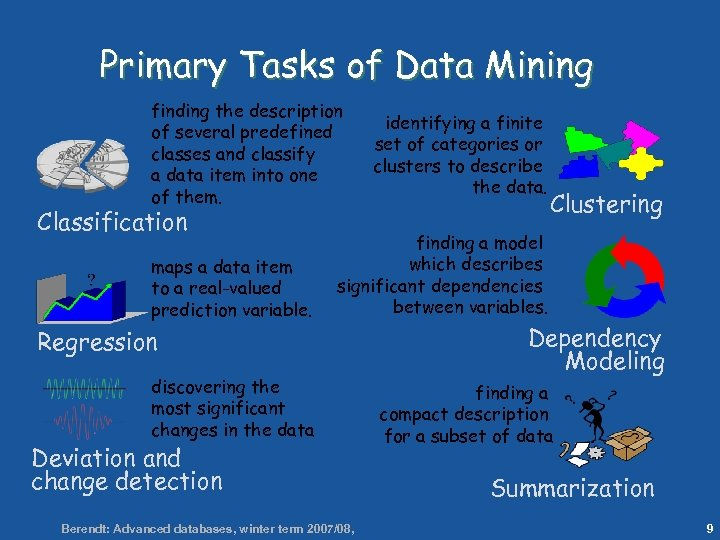 9 Primary Tasks of Data Mining finding the description of several predefined classes and