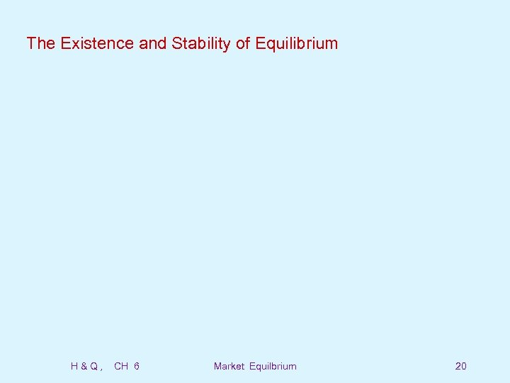 The Existence and Stability of Equilibrium H&Q, CH 6 Market Equilbrium 20