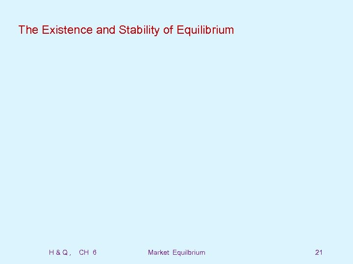 The Existence and Stability of Equilibrium H&Q, CH 6 Market Equilbrium 21