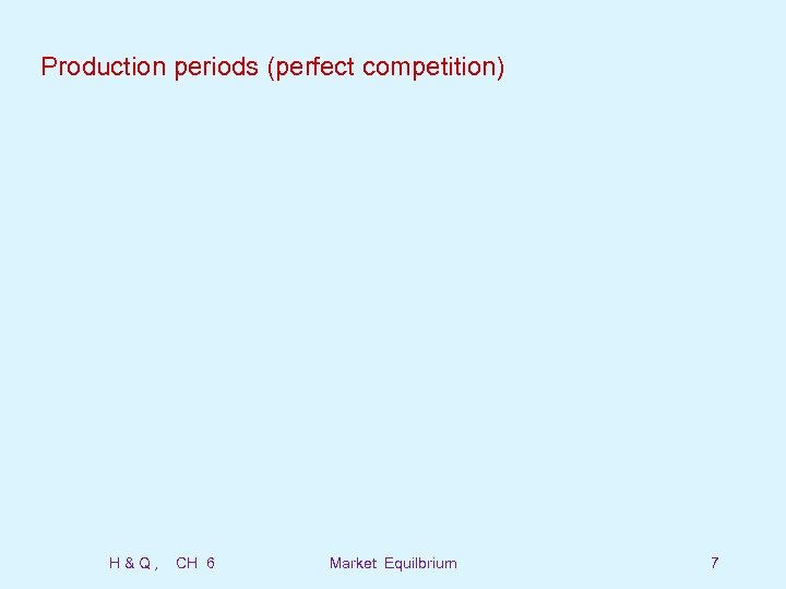 Production periods (perfect competition) H&Q, CH 6 Market Equilbrium 7