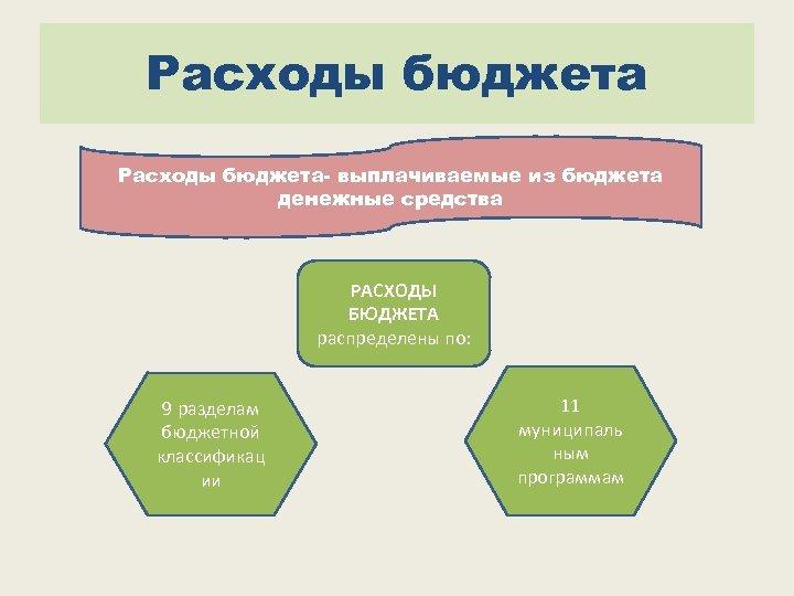 Расходы бюджета- выплачиваемые из бюджета денежные средства РАСХОДЫ БЮДЖЕТА распределены по: 9 разделам бюджетной