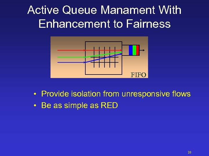 Active Queue Manament With Enhancement to Fairness FIFO • Provide isolation from unresponsive flows