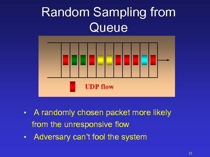 Random Sampling from Queue UDP flow • A randomly chosen packet more likely from