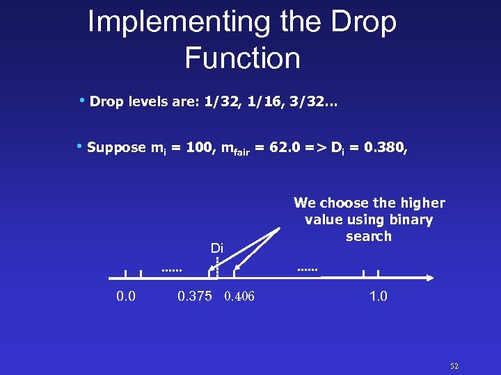 Implementing the Drop Function • Drop levels are: 1/32, 1/16, 3/32… • Suppose mi